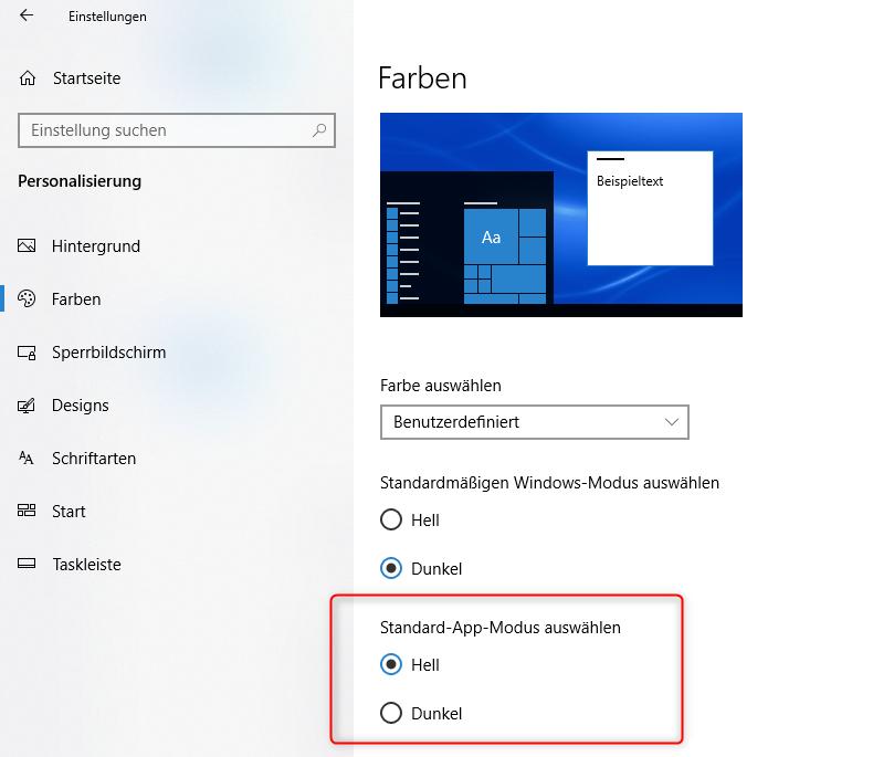 Dark Mode unter Windows einstellen