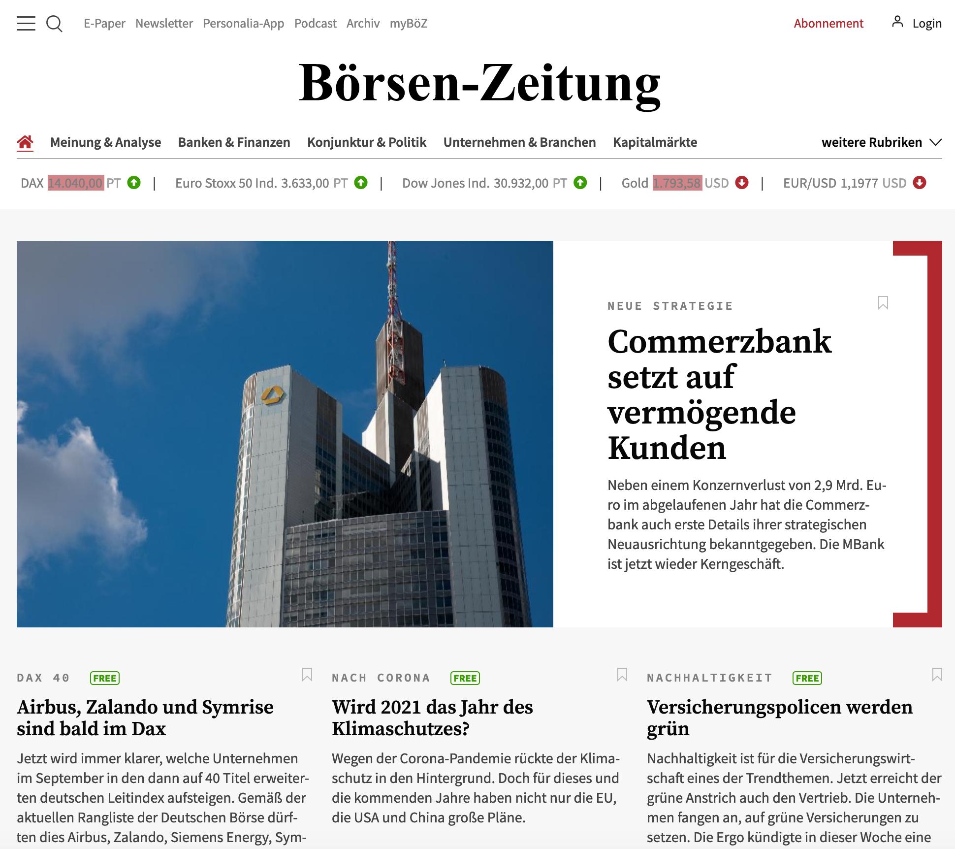 Screenshot Website Börsen-Zeitung